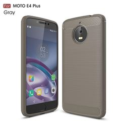Luxury Carbon Fiber Brushed Wire Drawing Silicone TPU Back Cover for Motorola Moto E4 Plus (Gray)