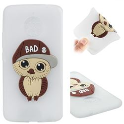 Bad Boy Owl Soft 3D Silicone Case for Motorola Moto E4 Plus(Europe) - Translucent White