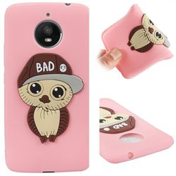Bad Boy Owl Soft 3D Silicone Case for Motorola Moto E4 Plus(Europe) - Pink