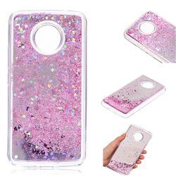 Glitter Sand Mirror Quicksand Dynamic Liquid Star TPU Case for Motorola Moto E4 Plus(Europe) - Cherry Pink
