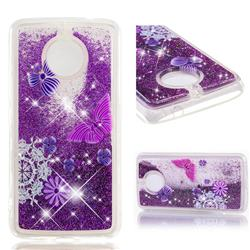 Purple Flower Butterfly Dynamic Liquid Glitter Quicksand Soft TPU Case for Motorola Moto E4 Plus(Europe)