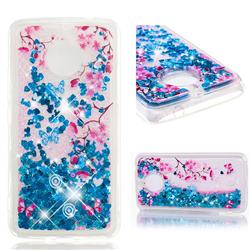 Blue Plum Blossom Dynamic Liquid Glitter Quicksand Soft TPU Case for Motorola Moto E4 Plus(Europe)