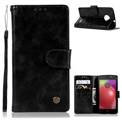 Luxury Retro Leather Wallet Case for Motorola Moto E4 Plus(Europe) - Black