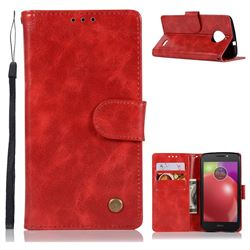 Luxury Retro Leather Wallet Case for Motorola Moto E4 Plus(Europe) - Red