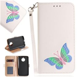 Imprint Embossing Butterfly Leather Wallet Case for Motorola Moto E4 Plus(Europe) - White