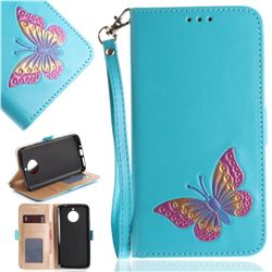 Imprint Embossing Butterfly Leather Wallet Case for Motorola Moto E4 Plus(Europe) - Sky Blue