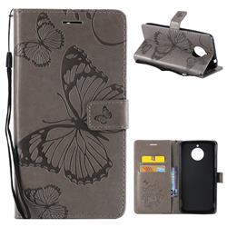 Embossing 3D Butterfly Leather Wallet Case for Motorola Moto E4 Plus(Europe) - Gray