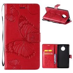 Embossing 3D Butterfly Leather Wallet Case for Motorola Moto E4 Plus(Europe) - Red