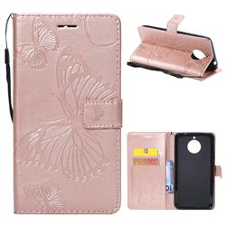 Embossing 3D Butterfly Leather Wallet Case for Motorola Moto E4 Plus(Europe) - Rose Gold