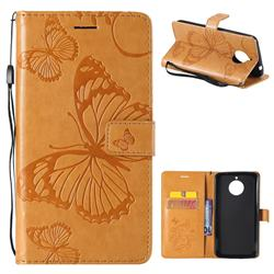 Embossing 3D Butterfly Leather Wallet Case for Motorola Moto E4 Plus(Europe) - Yellow