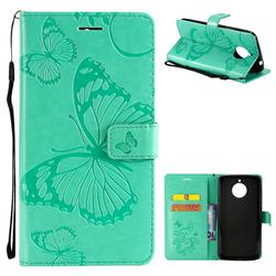 Embossing 3D Butterfly Leather Wallet Case for Motorola Moto E4 Plus(Europe) - Green