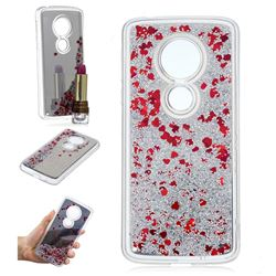 Glitter Sand Mirror Quicksand Dynamic Liquid Star TPU Case for Motorola Moto E5 - Red