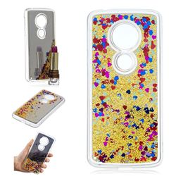 Glitter Sand Mirror Quicksand Dynamic Liquid Star TPU Case for Motorola Moto E5 - Yellow