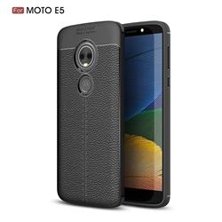Luxury Auto Focus Litchi Texture Silicone TPU Back Cover for Motorola Moto E5 - Black