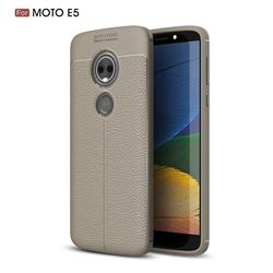 Luxury Auto Focus Litchi Texture Silicone TPU Back Cover for Motorola Moto E5 - Gray