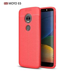 Luxury Auto Focus Litchi Texture Silicone TPU Back Cover for Motorola Moto E5 - Red