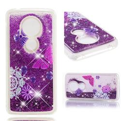 Purple Flower Butterfly Dynamic Liquid Glitter Quicksand Soft TPU Case for Motorola Moto E5
