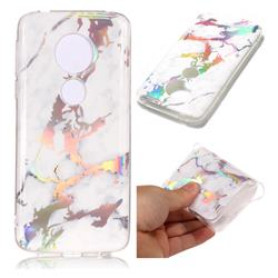 White Marble Pattern Bright Color Laser Soft TPU Case for Motorola Moto E5