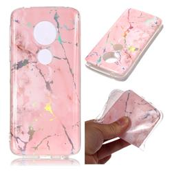 Powder Pink Marble Pattern Bright Color Laser Soft TPU Case for Motorola Moto E5