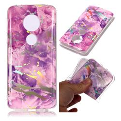 Purple Marble Pattern Bright Color Laser Soft TPU Case for Motorola Moto E5