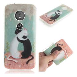 Black and White Cat IMD Soft TPU Cell Phone Back Cover for Motorola Moto E5