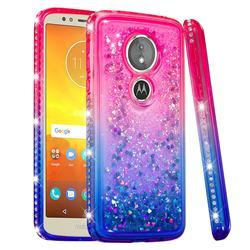 Diamond Frame Liquid Glitter Quicksand Sequins Phone Case for Motorola Moto E5 - Pink Blue