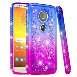 Diamond Frame Liquid Glitter Quicksand Sequins Phone Case for Motorola Moto E5 - Blue Purple