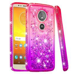 Diamond Frame Liquid Glitter Quicksand Sequins Phone Case for Motorola Moto E5 - Pink Purple