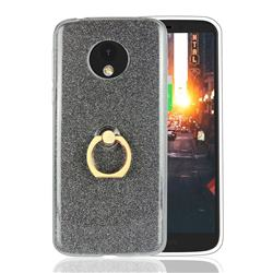 Luxury Soft TPU Glitter Back Ring Cover with 360 Rotate Finger Holder Buckle for Motorola Moto E5 - Black