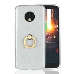 Luxury Soft TPU Glitter Back Ring Cover with 360 Rotate Finger Holder Buckle for Motorola Moto E5 - White