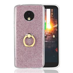 Luxury Soft TPU Glitter Back Ring Cover with 360 Rotate Finger Holder Buckle for Motorola Moto E5 - Pink