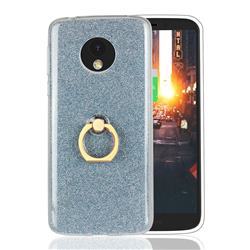 Luxury Soft TPU Glitter Back Ring Cover with 360 Rotate Finger Holder Buckle for Motorola Moto E5 - Blue