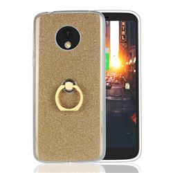Luxury Soft TPU Glitter Back Ring Cover with 360 Rotate Finger Holder Buckle for Motorola Moto E5 - Golden