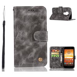 Luxury Retro Leather Wallet Case for Motorola Moto E5 - Gray