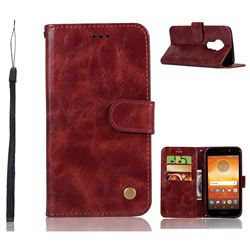 Luxury Retro Leather Wallet Case for Motorola Moto E5 - Wine Red
