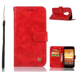 Luxury Retro Leather Wallet Case for Motorola Moto E5 - Red