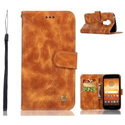 Luxury Retro Leather Wallet Case for Motorola Moto E5 - Golden