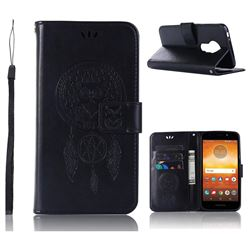 Intricate Embossing Owl Campanula Leather Wallet Case for Motorola Moto E5 - Black