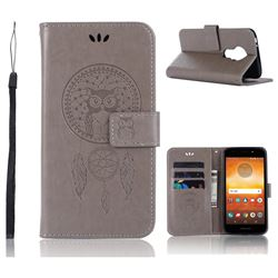 Intricate Embossing Owl Campanula Leather Wallet Case for Motorola Moto E5 - Grey