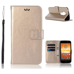 Intricate Embossing Owl Campanula Leather Wallet Case for Motorola Moto E5 - Champagne