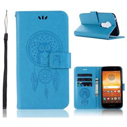 Intricate Embossing Owl Campanula Leather Wallet Case for Motorola Moto E5 - Blue