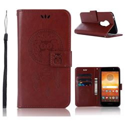 Intricate Embossing Owl Campanula Leather Wallet Case for Motorola Moto E5 - Brown