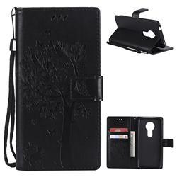 Embossing Butterfly Tree Leather Wallet Case for Motorola Moto E5 - Black