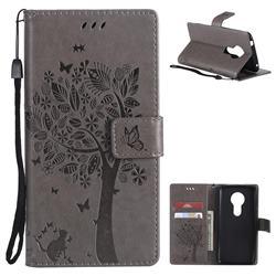 Embossing Butterfly Tree Leather Wallet Case for Motorola Moto E5 - Grey