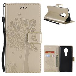 Embossing Butterfly Tree Leather Wallet Case for Motorola Moto E5 - Champagne