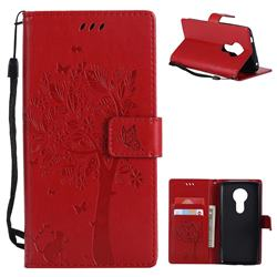 Embossing Butterfly Tree Leather Wallet Case for Motorola Moto E5 - Red
