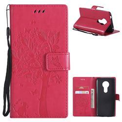 Embossing Butterfly Tree Leather Wallet Case for Motorola Moto E5 - Rose