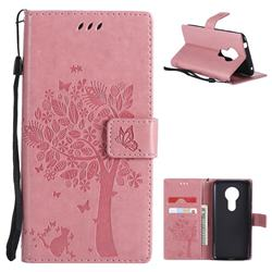 Embossing Butterfly Tree Leather Wallet Case for Motorola Moto E5 - Pink