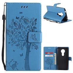Embossing Butterfly Tree Leather Wallet Case for Motorola Moto E5 - Blue