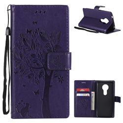 Embossing Butterfly Tree Leather Wallet Case for Motorola Moto E5 - Purple